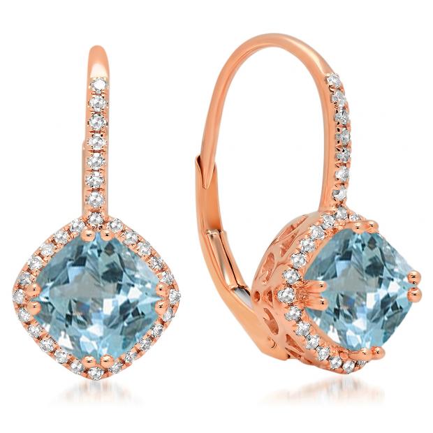2.20 Carat (ctw) 10K Rose Gold Cushion Cut Aquamarine & Round Cut White Diamond Ladies Halo Style Dangling Drop Earrings