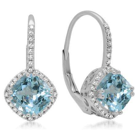 2.20 Carat (ctw) 10K White Gold Cushion Cut Aquamarine & Round Cut White Diamond Ladies Halo Style Dangling Drop Earrings