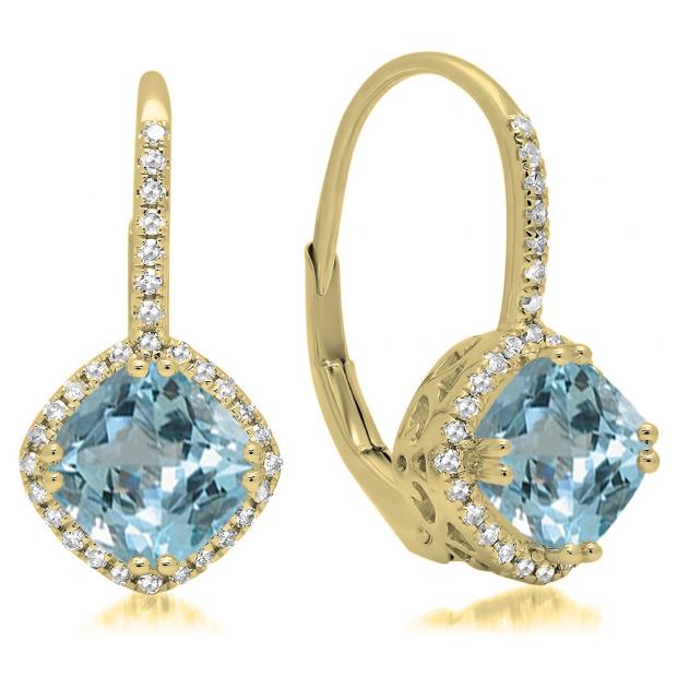 2.20 Carat (ctw) 10K Yellow Gold Cushion Cut Aquamarine & Round Cut White Diamond Ladies Halo Style Dangling Drop Earrings