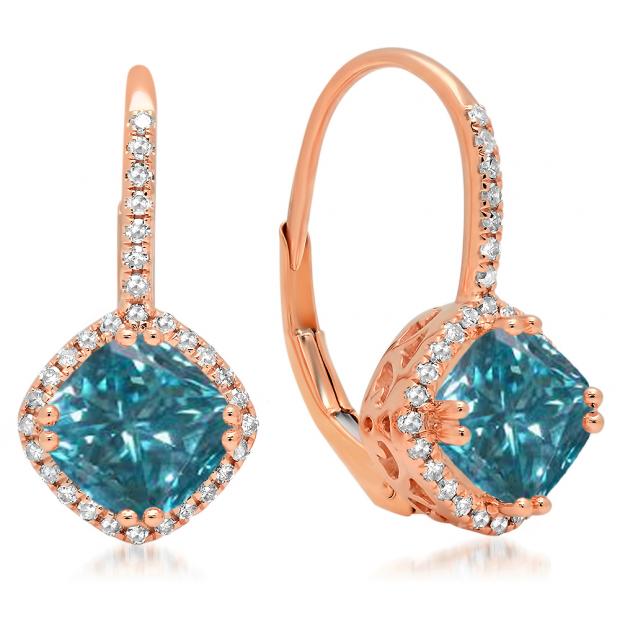 2.20 Carat (ctw) 18K Rose Gold Cushion Cut Blue & Round Cut White Diamond Ladies Halo Style Dangling Drop Earrings