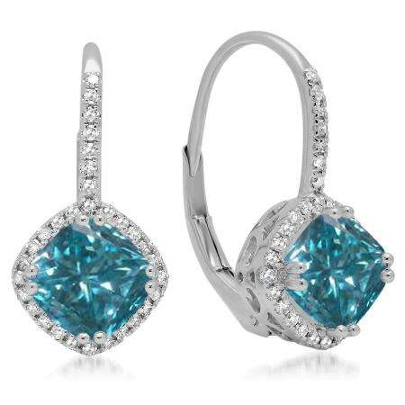 2.20 Carat (ctw) 18K White Gold Cushion Cut Blue & Round Cut White Diamond Ladies Halo Style Dangling Drop Earrings
