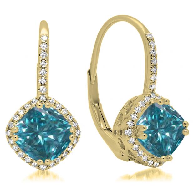2.20 Carat (ctw) 18K Yellow Gold Cushion Cut Blue & Round Cut White Diamond Ladies Halo Style Dangling Drop Earrings