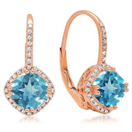2.20 Carat (ctw) 18K Rose Gold Cushion Cut Blue Topaz & Round Cut White Diamond Ladies Halo Style Dangling Drop Earrings