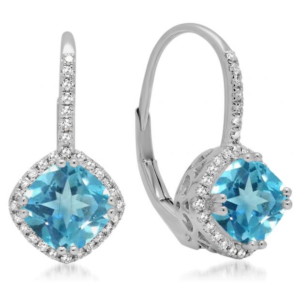 2.20 Carat (ctw) 18K White Gold Cushion Cut Blue Topaz & Round Cut White Diamond Ladies Halo Style Dangling Drop Earrings