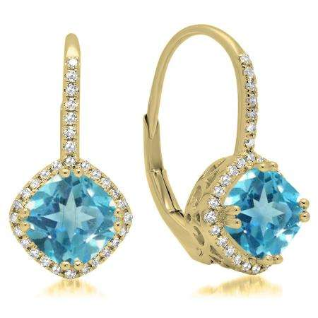 2.20 Carat (ctw) 18K Yellow Gold Cushion Cut Blue Topaz & Round Cut White Diamond Ladies Halo Style Dangling Drop Earrings