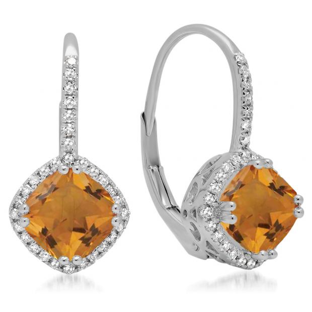 2.20 Carat (ctw) 10K White Gold Cushion Cut Citrine & Round Cut White Diamond Ladies Halo Style Dangling Drop Earrings