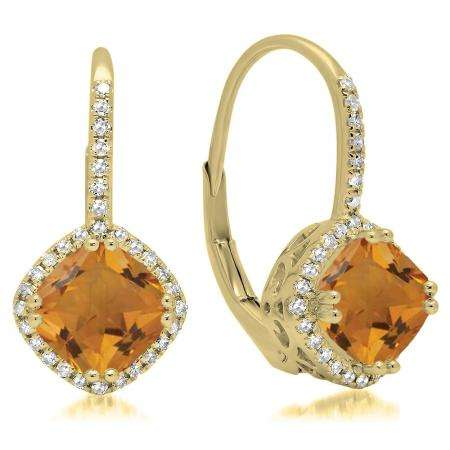 2.20 Carat (ctw) 14K Yellow Gold Cushion Cut Citrine & Round Cut White Diamond Ladies Halo Style Dangling Drop Earrings