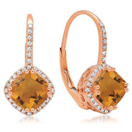 2.20 Carat (ctw) 18K Rose Gold Cushion Cut Citrine & Round Cut White Diamond Ladies Halo Style Dangling Drop Earrings