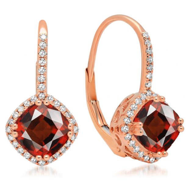 2.20 Carat (ctw) 14K Rose Gold Cushion Cut Garnet & Round Cut White Diamond Ladies Halo Style Dangling Drop Earrings