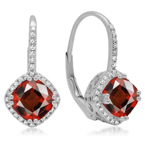 2.20 Carat (ctw) 18K White Gold Cushion Cut Garnet & Round Cut White Diamond Ladies Halo Style Dangling Drop Earrings