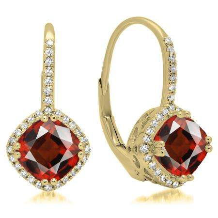 2.20 Carat (ctw) 18K Yellow Gold Cushion Cut Garnet & Round Cut White Diamond Ladies Halo Style Dangling Drop Earrings