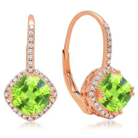 2.20 Carat (ctw) 14K Rose Gold Cushion Cut Peridot & Round Cut White Diamond Ladies Halo Style Dangling Drop Earrings