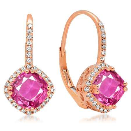 2.20 Carat (ctw) 10K Rose Gold Cushion Cut Pink Sapphire & Round Cut White Diamond Ladies Halo Style Dangling Drop Earrings