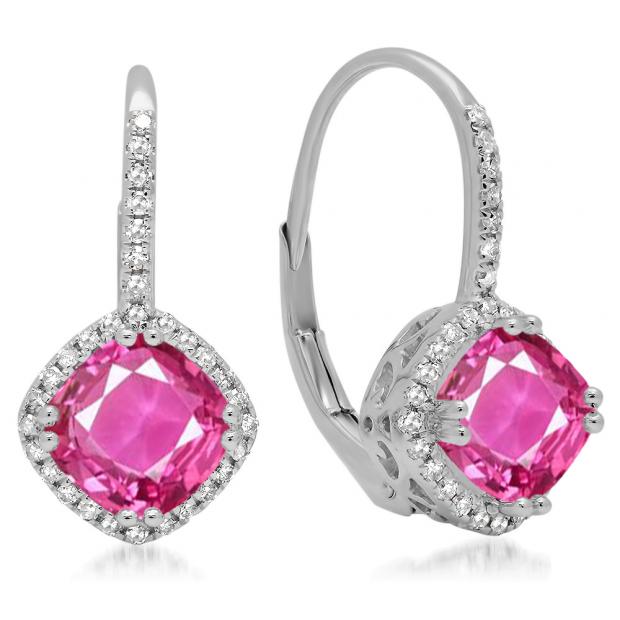 2.20 Carat (ctw) 14K White Gold Cushion Cut Pink Sapphire & Round Cut White Diamond Ladies Halo Style Dangling Drop Earrings