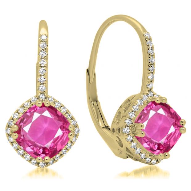 2.20 Carat (ctw) 14K Yellow Gold Cushion Cut Pink Sapphire & Round Cut White Diamond Ladies Halo Style Dangling Drop Earrings