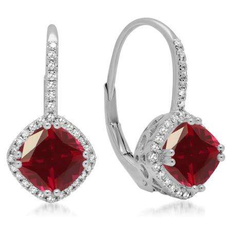 2.20 Carat (ctw) 10K White Gold Cushion Cut Ruby & Round Cut White Diamond Ladies Halo Style Dangling Drop Earrings