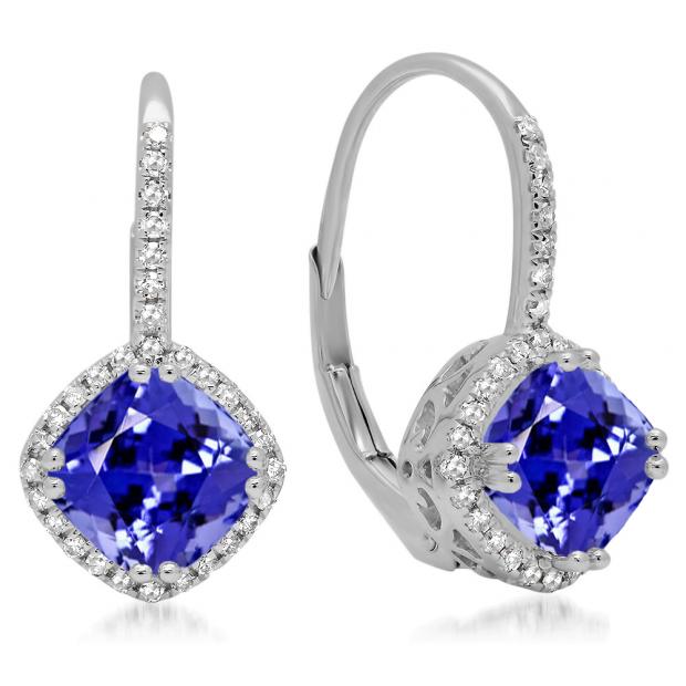 2.20 Carat (ctw) 18K White Gold Cushion Cut Tanzanite & Round Cut White Diamond Ladies Halo Style Dangling Drop Earrings
