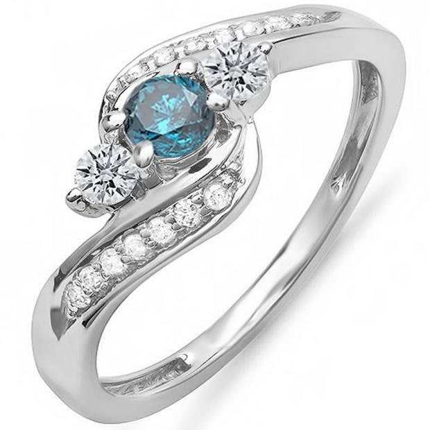 1.10 Carat (ctw) 14k White Gold Round Blue And White Diamond Ladies Swirl Engagement 3 Stone Bridal Ring 1 CT
