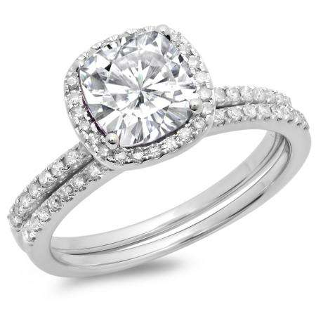 1.75 Carat (ctw) 10K White Gold Cushion Cut Created White Sapphire & Round Cut White Diamond Ladies Bridal Halo Engagement Ring With Matching Band Set 1 3/4 CT