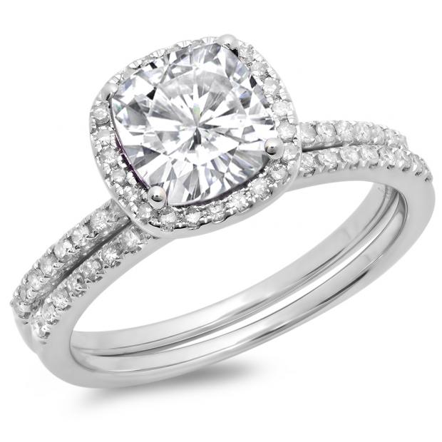 1.75 Carat (ctw) 18K White Gold Cushion Cut Created White Sapphire & Round Cut White Diamond Ladies Bridal Halo Engagement Ring With Matching Band Set 1 3/4 CT