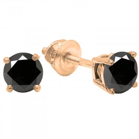 1.00 Carat (ctw) 10K Rose Gold Round Cut Black Sapphire Ladies Solitaire Stud Earrings 1 CT