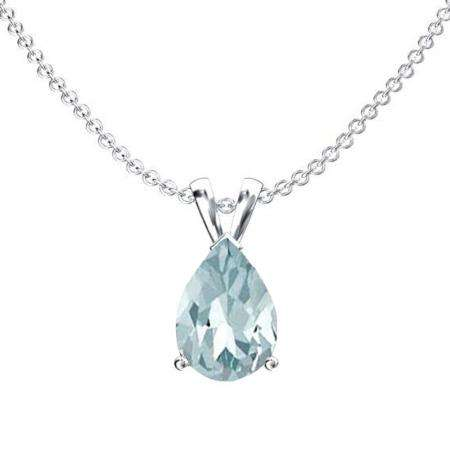 1.50 Carat (ctw) Sterling Silver Pear Cut Aquamarine Ladies Solitaire Pendant (Chain Included) 1 1/2 CT
