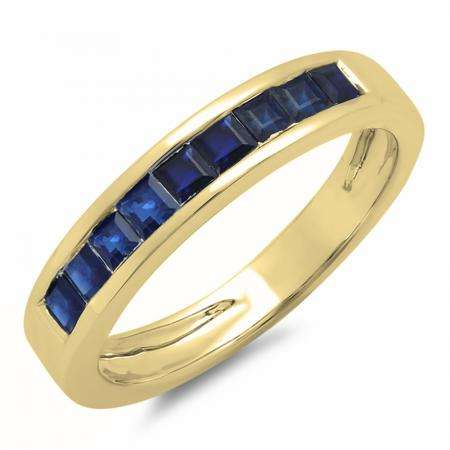 0.75 Carat (ctw) 10K Yellow Gold Princess Cut Blue Sapphire Ladies Anniversary Wedding Band Stackable Ring 3/4 CT