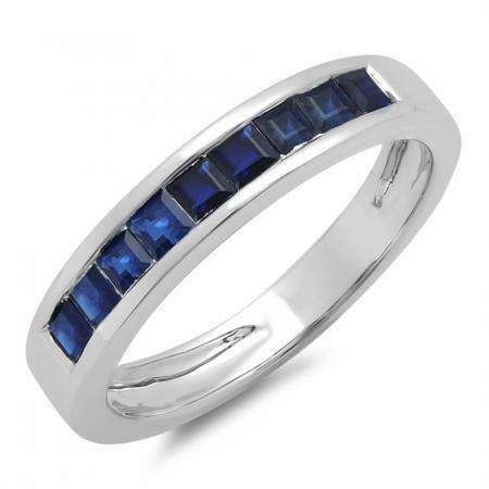 0.75 Carat (ctw) 14K White Gold Princess Cut Blue Sapphire Ladies Anniversary Wedding Band Stackable Ring 3/4 CT