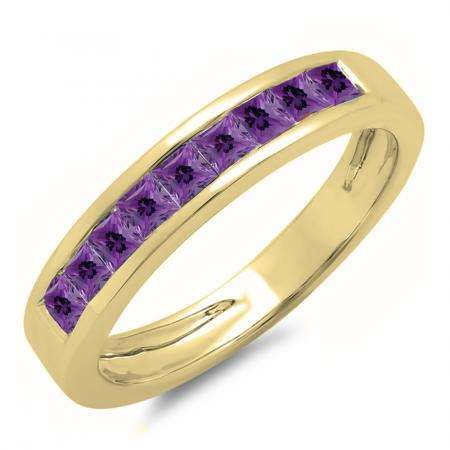0.75 Carat (ctw) 10K Yellow Gold Princess Cut Amethyst Ladies Anniversary Wedding Band Stackable Ring 3/4 CT