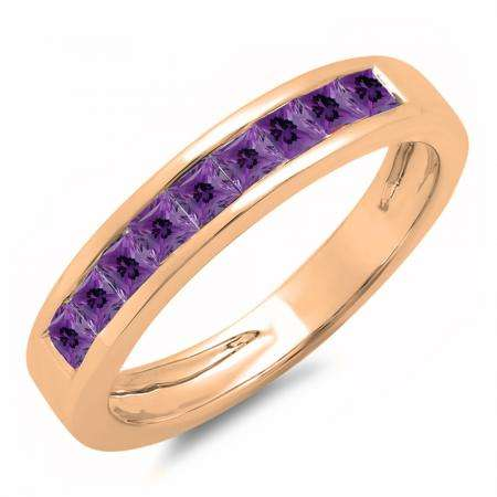 0.75 Carat (ctw) 14K Rose Gold Princess Cut Amethyst Ladies Anniversary Wedding Band Stackable Ring 3/4 CT