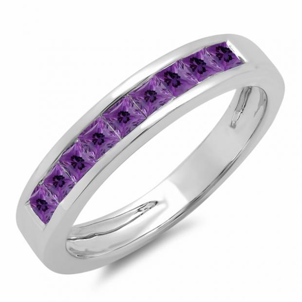 0.75 Carat (ctw) 14K White Gold Princess Cut Amethyst Ladies Anniversary Wedding Band Stackable Ring 3/4 CT