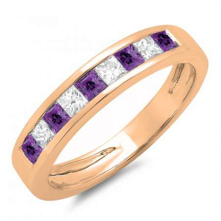 0.75 Carat (ctw) 10K Rose Gold Princess Cut Amethyst & White Diamond Ladies Anniversary Wedding Band Stackable Ring 3/4 CT