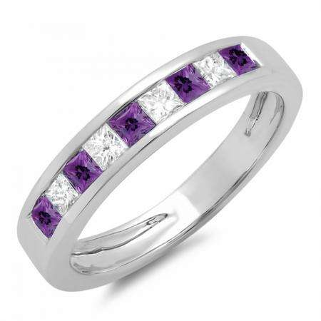 0.75 Carat (ctw) 18K White Gold Princess Cut Amethyst & White Diamond Ladies Anniversary Wedding Band Stackable Ring 3/4 CT
