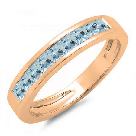 0.75 Carat (ctw) 10K Rose Gold Princess Cut Aquamarine Ladies Anniversary Wedding Band Stackable Ring 3/4 CT