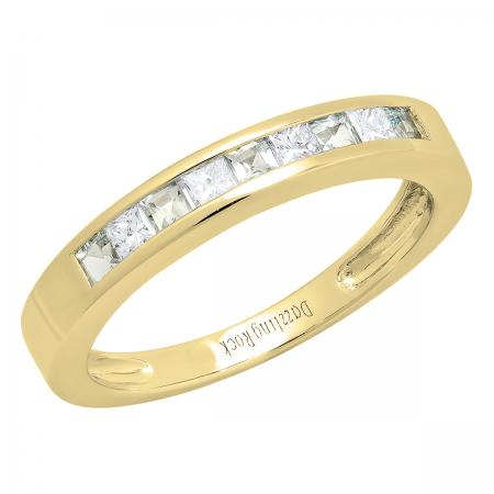 0.75 Carat (ctw) 10K Yellow Gold Princess Cut Aquamarine & White diamond Ladies Anniversary Wedding Band Stackable Ring 3/4 CT