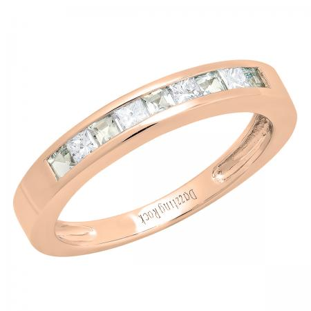 0.75 Carat (ctw) 18K Rose Gold Princess Cut Aquamarine & White diamond Ladies Anniversary Wedding Band Stackable Ring 3/4 CT