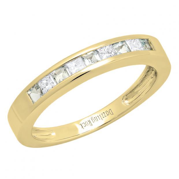 0.75 Carat (ctw) 18K Yellow Gold Princess Cut Aquamarine & White diamond Ladies Anniversary Wedding Band Stackable Ring 3/4 CT