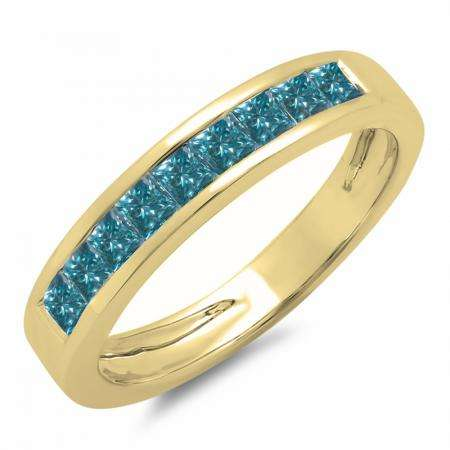 0.75 Carat (ctw) 10K Yellow Gold Princess Cut Blue Diamond Ladies Anniversary Wedding Band Stackable Ring 3/4 CT