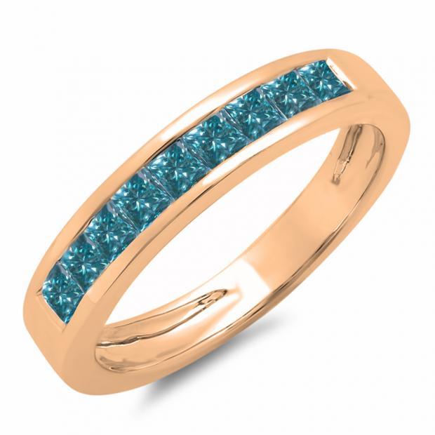 0.75 Carat (ctw) 14K Rose Gold Princess Cut Blue Diamond Ladies Anniversary Wedding Band Stackable Ring 3/4 CT