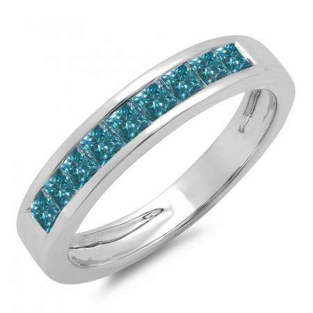 0.75 Carat (ctw) 14K White Gold Princess Cut Blue Diamond Ladies Anniversary Wedding Band Stackable Ring 3/4 CT
