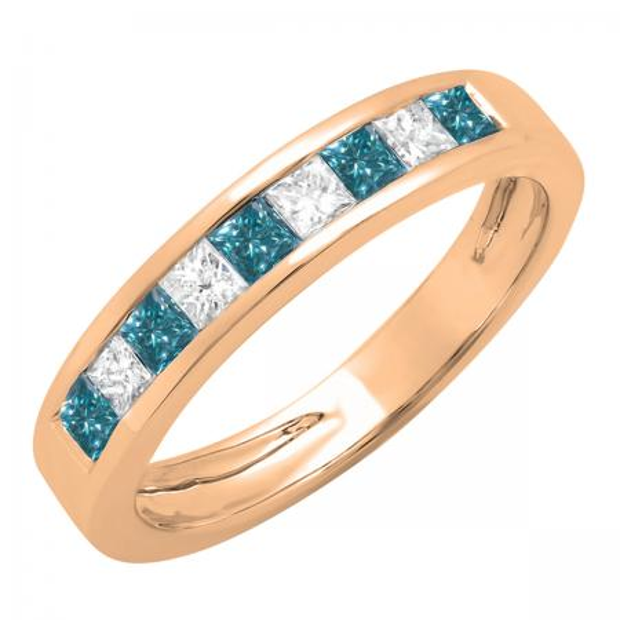 0.75 Carat (ctw) 10K Rose Gold Princess Cut Blue & White Diamond Ladies Anniversary Wedding Band Stackable Ring 3/4 CT