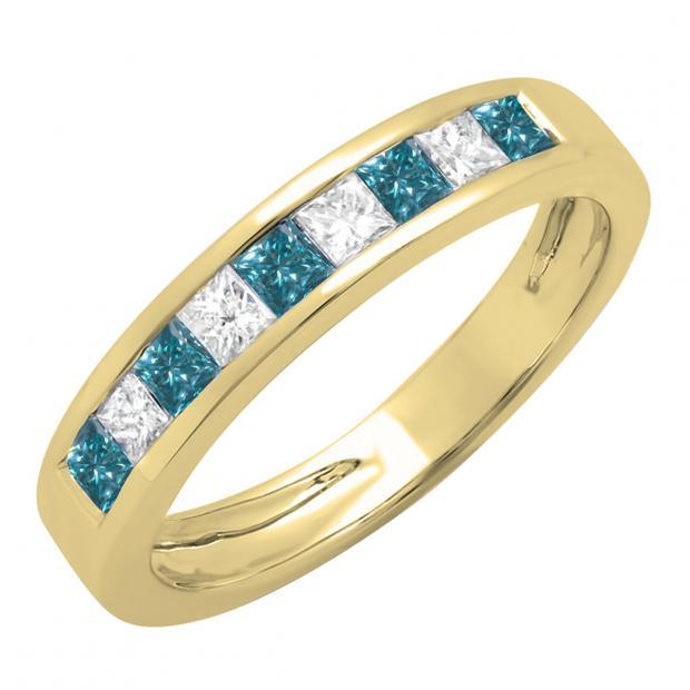 0.75 Carat (ctw) 10K Yellow Gold Princess Cut Blue & White Diamond Ladies Anniversary Wedding Band Stackable Ring 3/4 CT