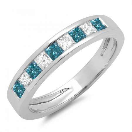 0.75 Carat (ctw) 18K White Gold Princess Cut Blue & White Diamond Ladies Anniversary Wedding Band Stackable Ring 3/4 CT