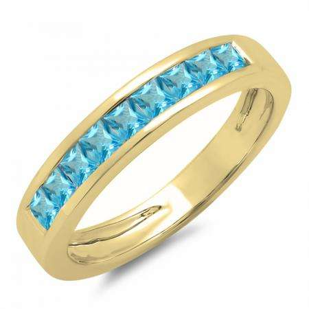 0.75 Carat (ctw) 14K Yellow Gold Princess Cut Blue Topaz Ladies Anniversary Wedding Band Stackable Ring 3/4 CT