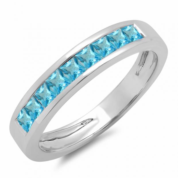 0.75 Carat (ctw) 18K White Gold Princess Cut Blue Topaz Ladies Anniversary Wedding Band Stackable Ring 3/4 CT