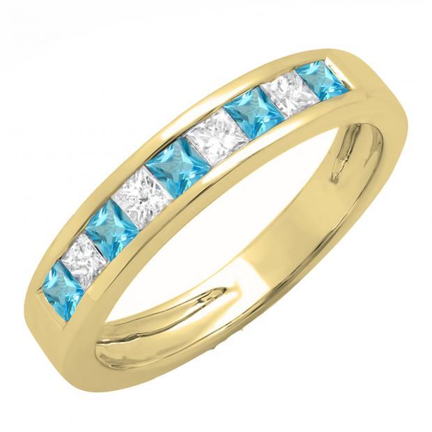 0.75 Carat (ctw) 18K Yellow Gold Princess Cut Blue Topaz & White Diamond Ladies Anniversary Wedding Band Stackable Ring 3/4 CT