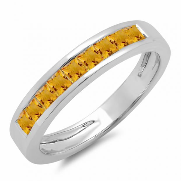0.75 Carat (ctw) 18K White Gold Princess Cut Citrine Ladies Anniversary Wedding Band Stackable Ring 3/4 CT