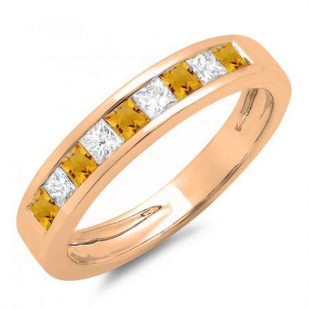 0.75 Carat (ctw) 14K Rose Gold Princess Cut Citrine & White Diamond Ladies Anniversary Wedding Band Stackable Ring 3/4 CT