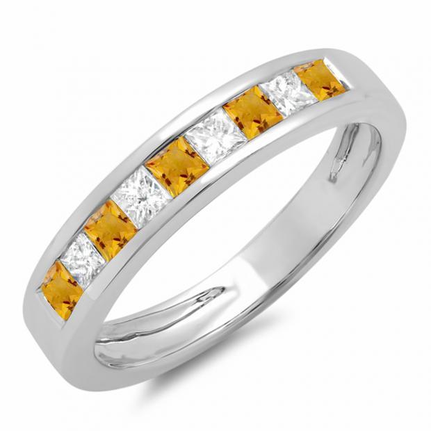 0.75 Carat (ctw) 14K White Gold Princess Cut Citrine & White Diamond Ladies Anniversary Wedding Band Stackable Ring 3/4 CT