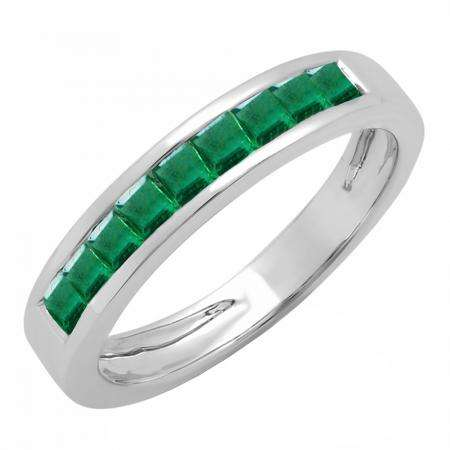 0.75 Carat (ctw) 18K White Gold Princess Cut Emerald Ladies Anniversary Wedding Band Stackable Ring 3/4 CT